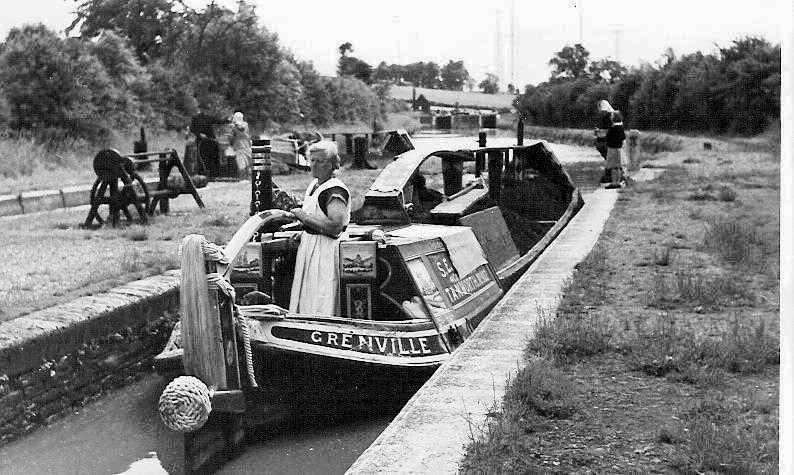 Canal boat in lock