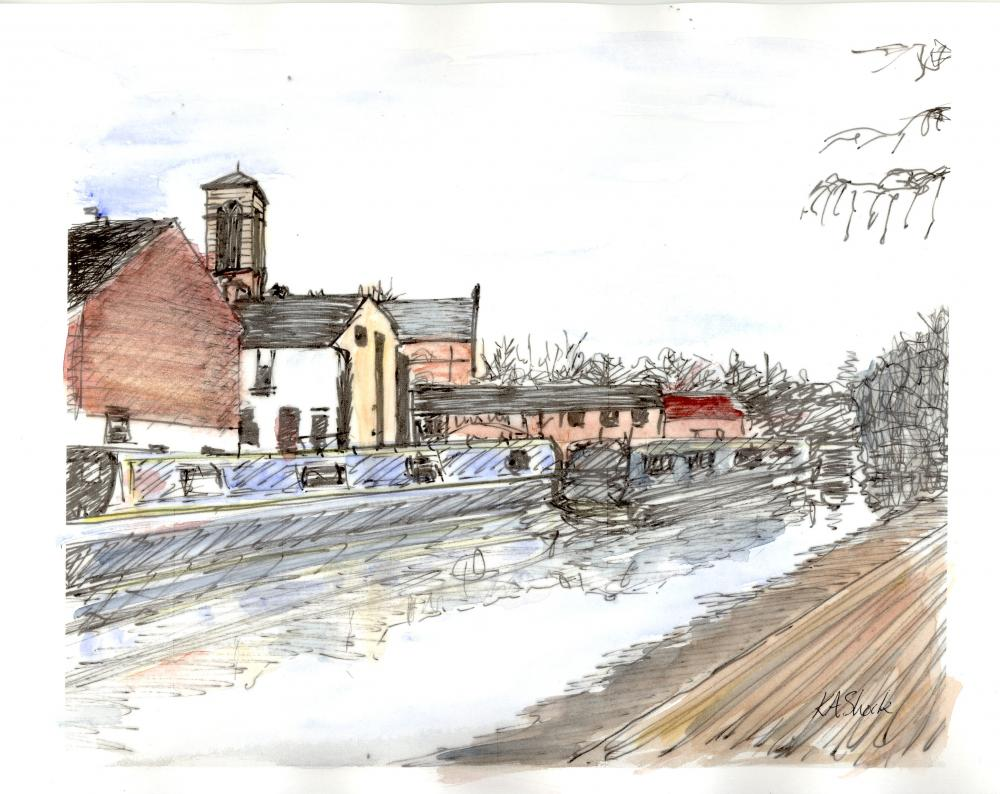 Katherine Shock - St Barnabas Church from Oxford Canal